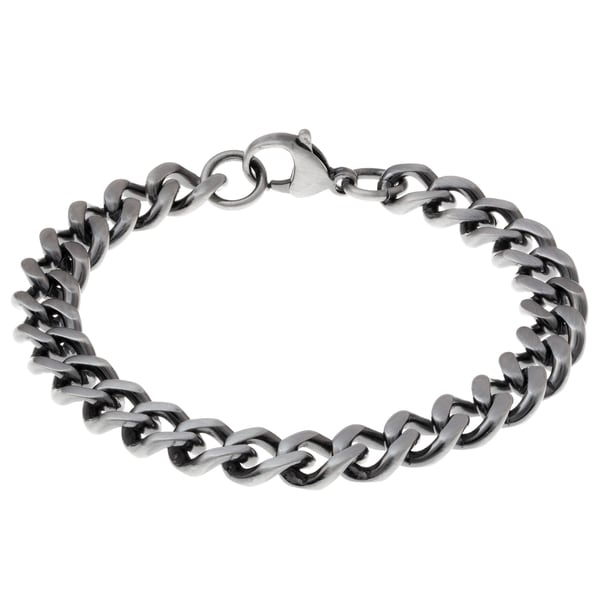 Antique Finished Stainless Steel Curb Chain Bracelet