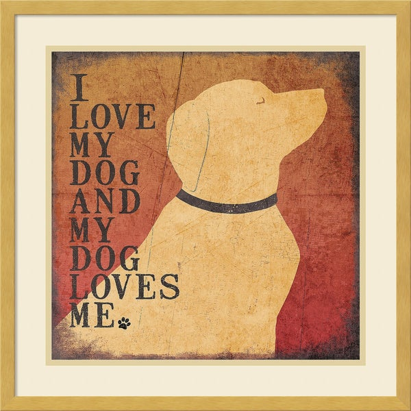 Framed Art Print 'Dog Loves' by Jo Moulton 21 x 21-inch