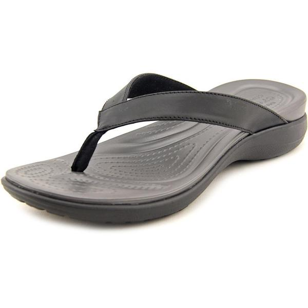 Crocs Women's 'Capri V Flip' Leather Sandals