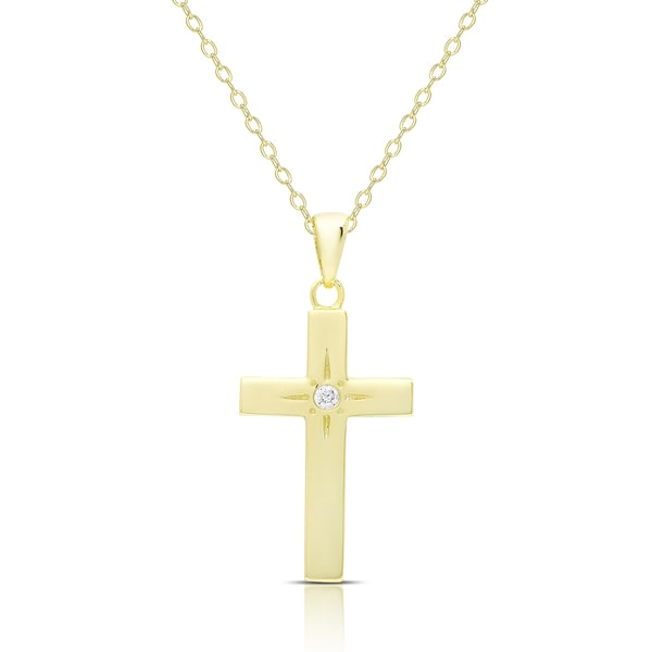 Dolce Giavonna Gold Over Silver Or Sterling Silver Cubic Zirconia Cross Necklace