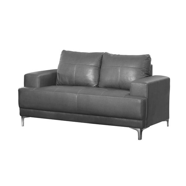 Charcoal Grey Bonded Leather Loveseat
