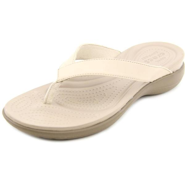 Crocs Women's 'Capri V Flip' Tan Leather Sandals