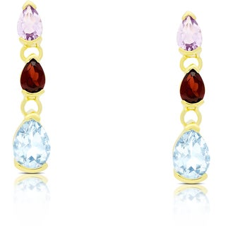 Dolce Giavonna Gold Over Sterling Silver Multi Gemstone Teardrop Dangle Earrings