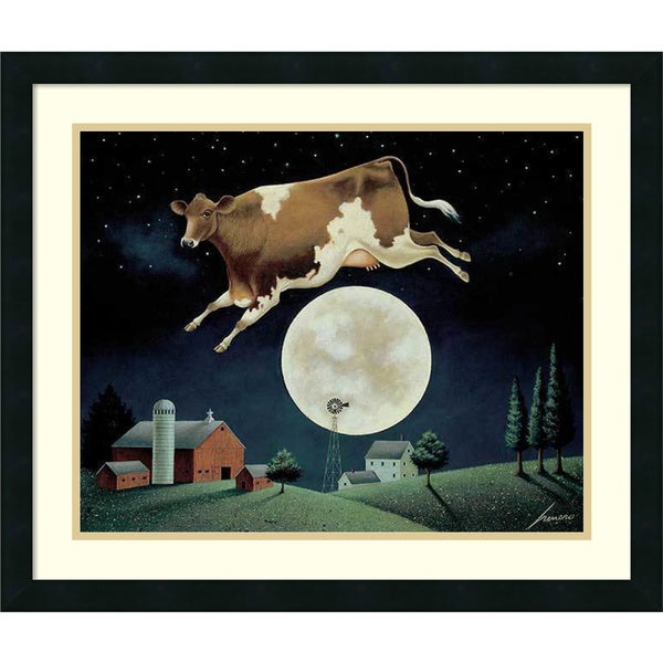 Framed Art Print 'Cow Jumps Over The Moon' by Lowell Herrero 26 x 22-inch 19701397