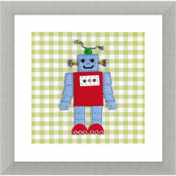 Framed Art Print 'Robots Rule OK' by Catherine Colebrook 12 x 12-inch