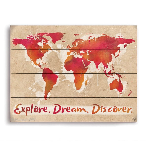 'Explore Dream Discover The World Red' Wood Wall Graphic