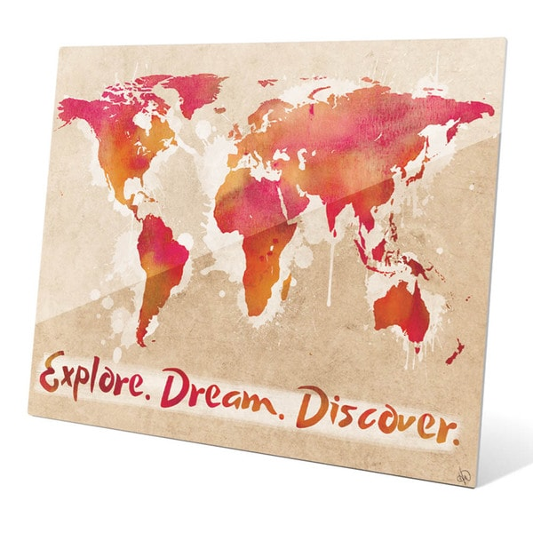 'Explore Dream Discover the World - Red' Wall Graphic on Acrylic