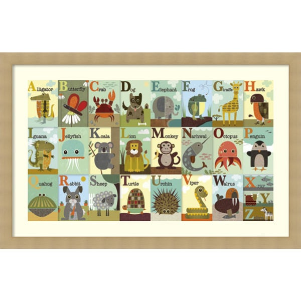Framed Art Print 'Alphabet Zoo' by Jenn Ski 46 x 30-inch
