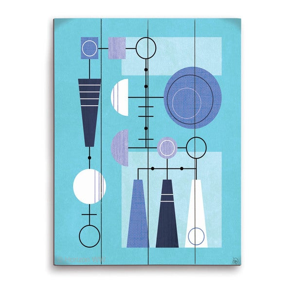 'Retro Blue Motherboard' Wall Graphic on Wood
