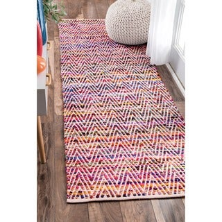 nuLOOM Handmade Flatweave Stiped Chevron Cotton Magenta Runner Rug (2'6 x 8')