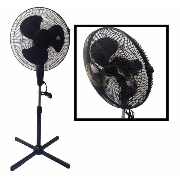 LavoHome Quiet Black 16-inch 3-speed Oscillating Adjustable-height Standing Floor Fan