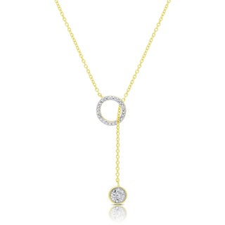 Finesque Gold Over Silver or Sterling Silver Diamond Accent Circle Lariat Design Necklace (I-J, I2-I3)