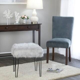 HomePop Faux Fur Gray Square Stool Metal Hairpin Legs