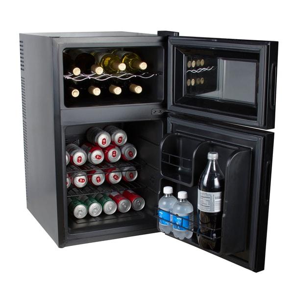 Wine Refrigerator Reviews >> Kalorik Black 2-in-1 Mini-fridge and Wine Cooler - 19103649 - Overstock.com Shopping - Great ...