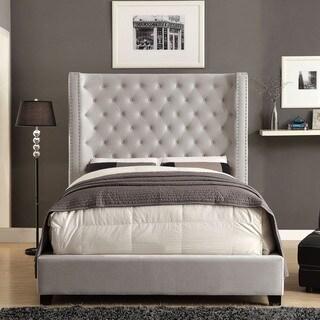 Furniture of America Carabella Contemporary Flannelette Wingback Low Profile Bed