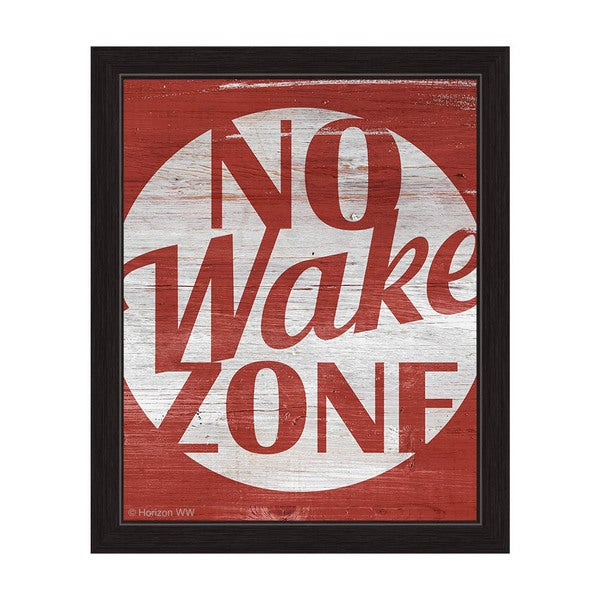 'No Wake Zone Red' Framed Graphic Wall Art
