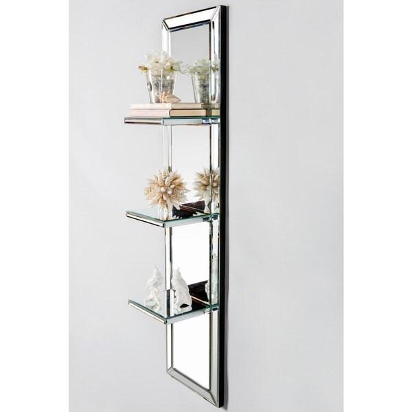 Silvertone Glass Mirrored Wall Shelf 19103950