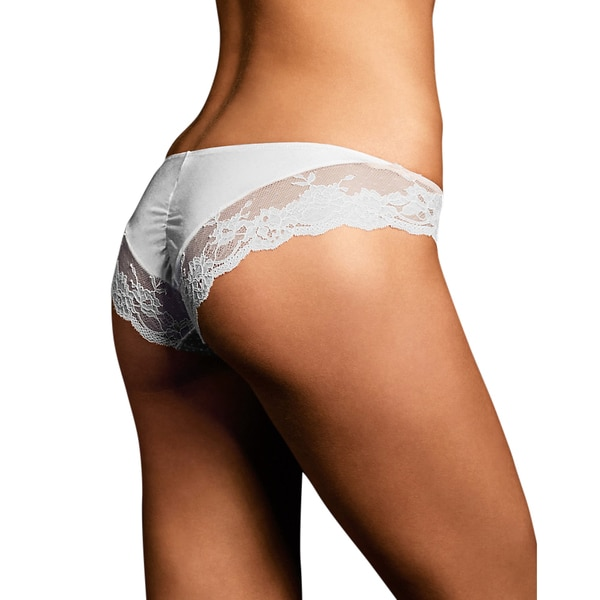 Comfort Devotion Women's White Lace-back Tanga Panties