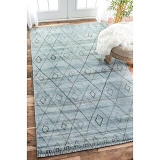 nuLOOM Handmade Concentric Diamond Trellis Wool Blue Rug (8'6 x 11'6)