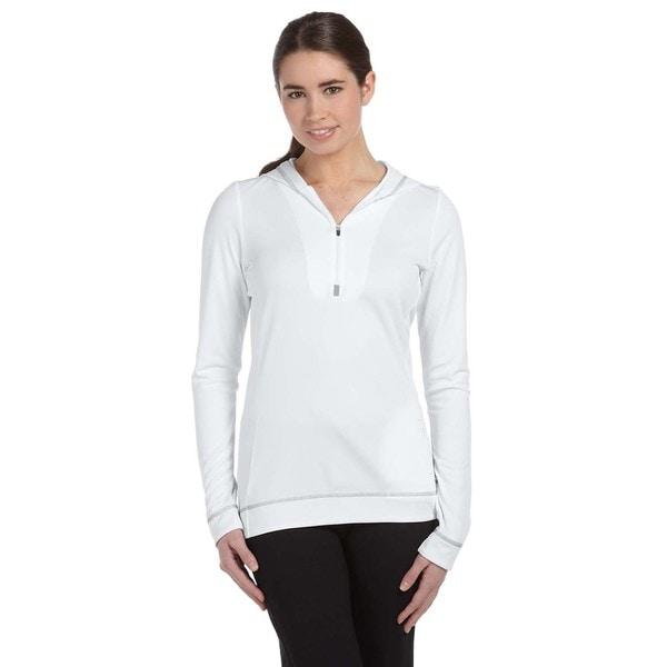 Half-zip Women's Long-sleeve White/ Grey Hoodie