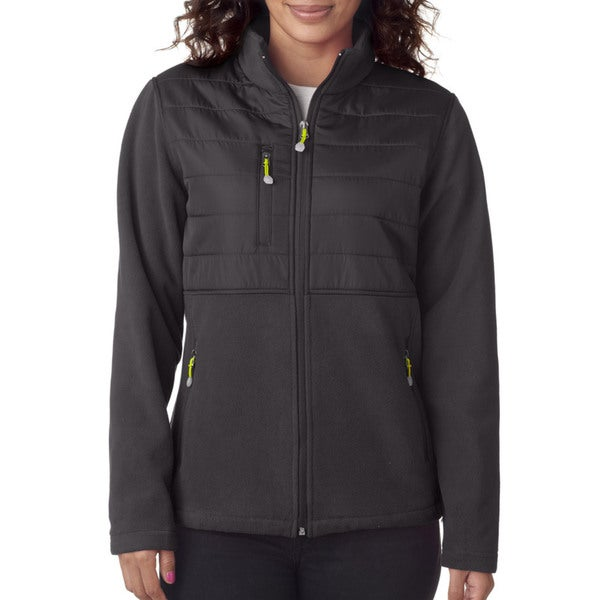 Wome'ns Fleece with Quilted Yoke Overlay Charcoal Jacket