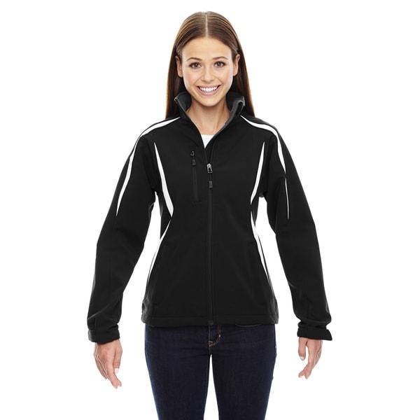 Enzo Women's Colorblocked Three-layer Fleece Bonded Soft Shell Black 703 Jacket