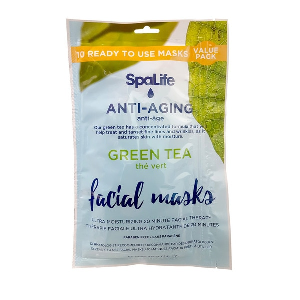 Green Tea Anti-Aging Facial Masks (Pack of 10)