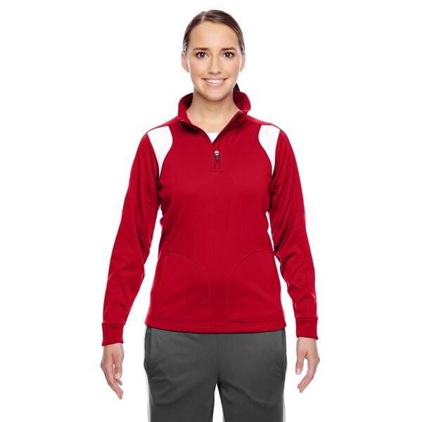 Elite Women's Sport Red/ White Performance Quarter-zip