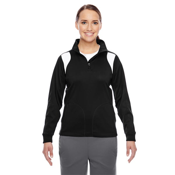 Elite Women's Black/ White Performance Quarter-zip