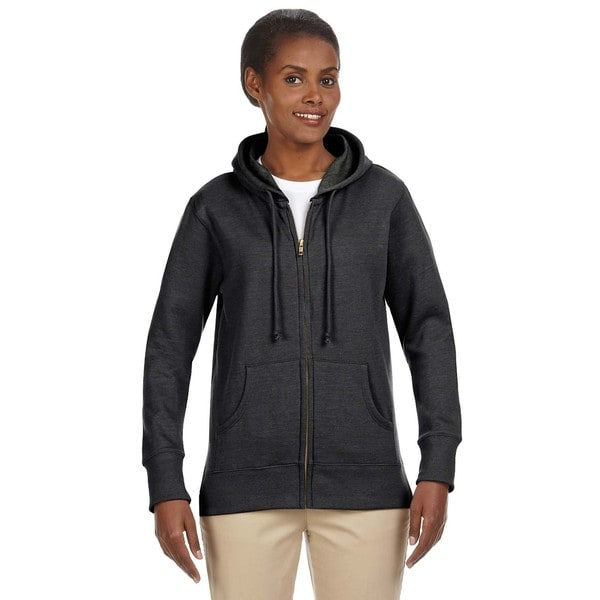 Women's Organic/ Recycled Heathered Fleece Charcoal Full-zip Hoodie 19716807