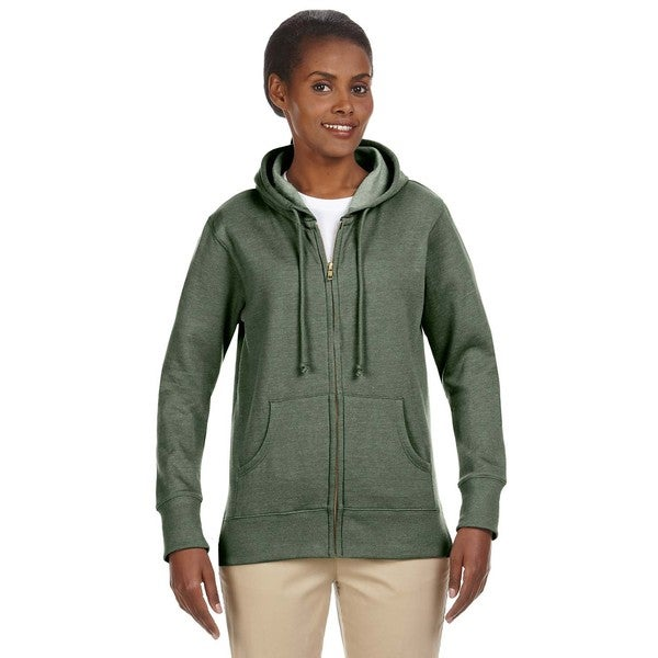Women's Organic/ Recycled Heathered Fleece Military Green Full-zip Hoodie 19716820
