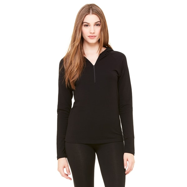 Cotton/ Spandex Women's Half-zip Hooded Black Pullover