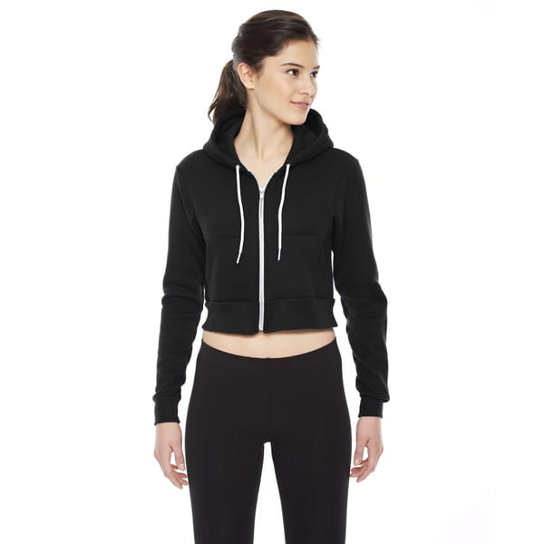 Cropped Women's Flex Fleece Zip Black Hoodie