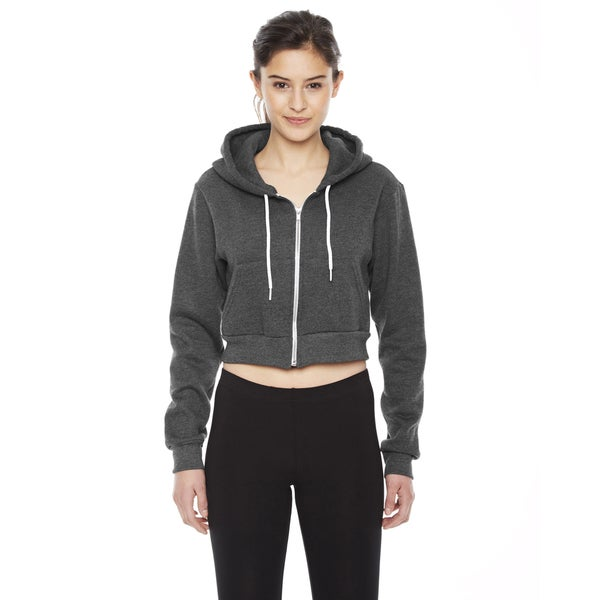 Cropped Women's Flex Fleece Zip Dark Heather Grey Hoodie 19717075