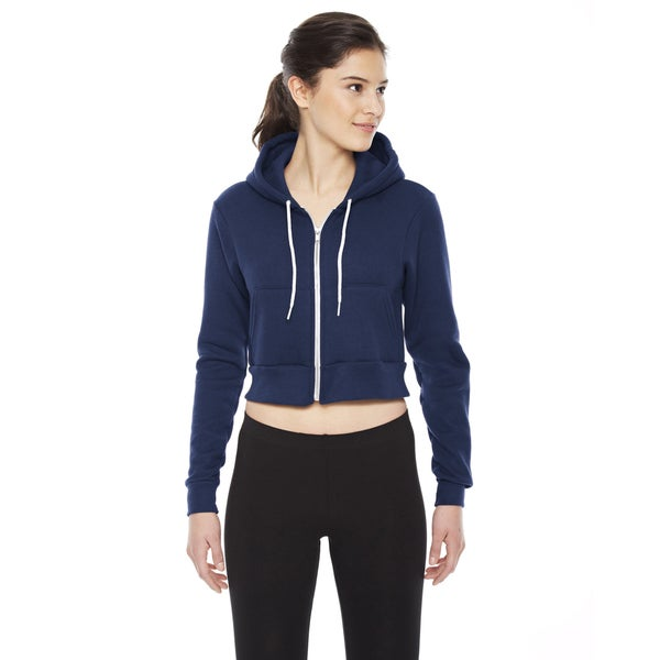 Cropped Women's Flex Fleece Zip Navy Hoodie