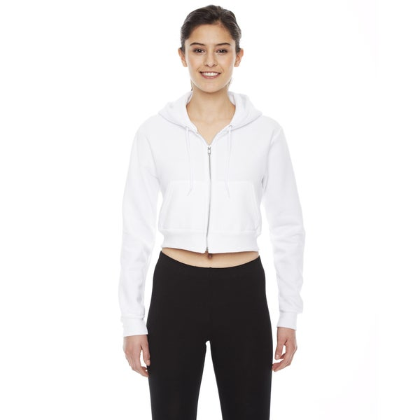 Cropped Women's Flex Fleece Zip White Hoodie 19717095