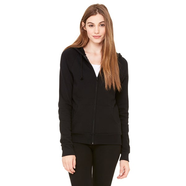 Fleece Women's Full-zip Raglan Black Hoodie