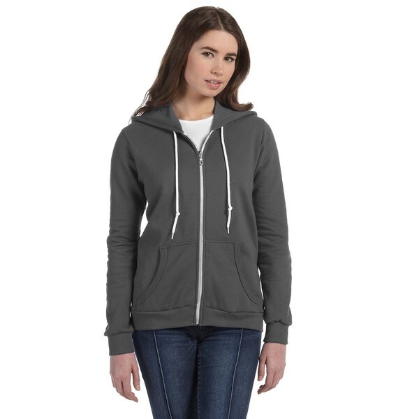 Full-zip Women's Charcoal Hooded Fleece
