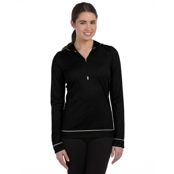 Half-zip Women's Long-sleeve Black/ White Hoodie