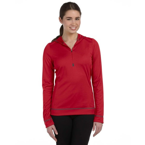 Half-zip Women's Long-sleeve Sport Scar Red Hoodie