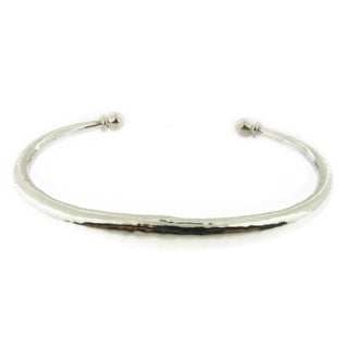 Handcrafted .925 Sterling Silver Hollow Hammered Cuff Bracelet (Mexico)