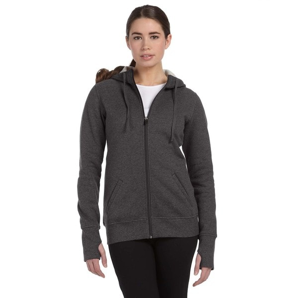 Performance Fleece Women's with Runner's Thumb Dark Grey Heather Full-zip Hoodie 19717657
