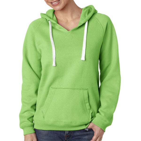 Sydney Women's Brushed V-neck Lime Hoodie
