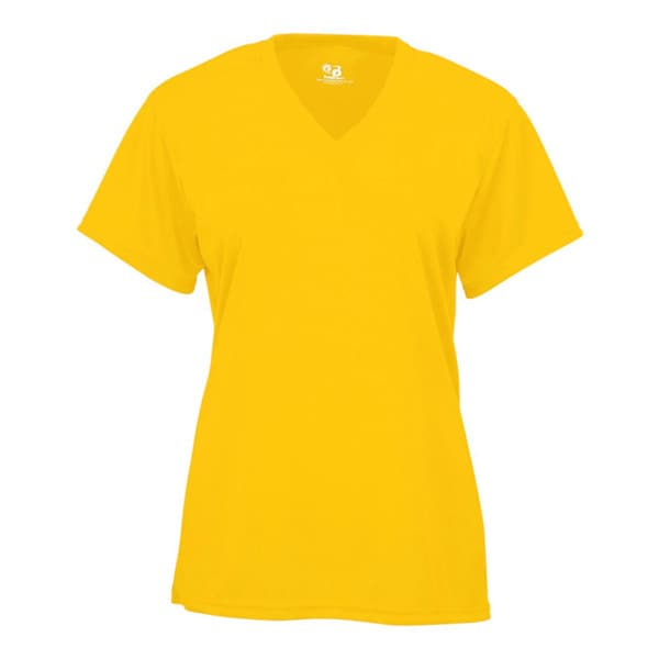 B-core Women's V-neck Short-sleeved Performance Gold T-shirt