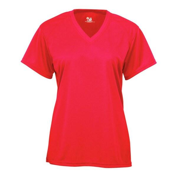 B-core Women's V-neck Short-sleeved Performance Hot Coral T-shirt 19718275