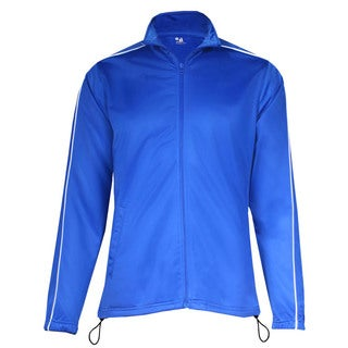 100-percent Polyester Women's Razor Full Zipper Royal/ White Jacket