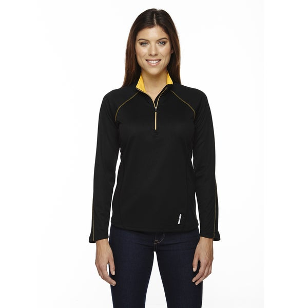 Radar Women's Half-zip Black/ Cmps Gold 464 Performance Long-sleeve Top