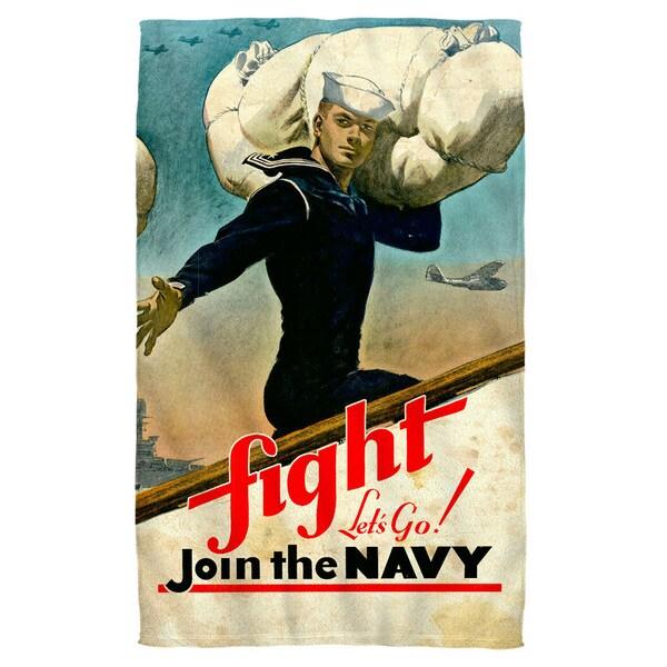Navy/Fight Lets Go Beach Towel