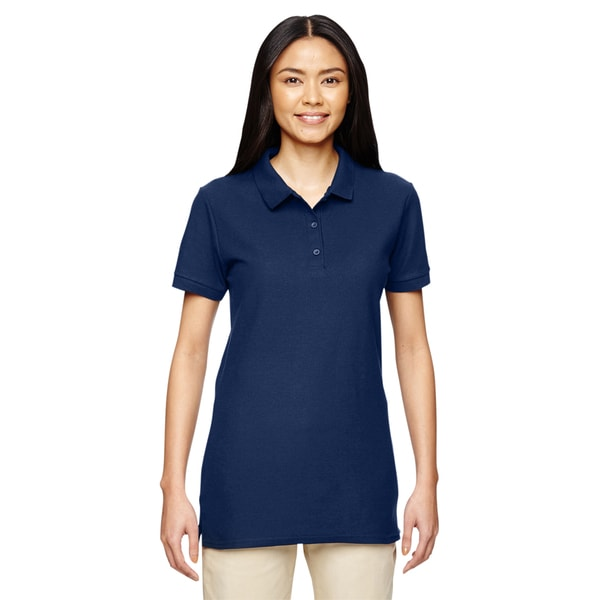 Premium Cotton Women's Double Pique Navy Sport Shirt