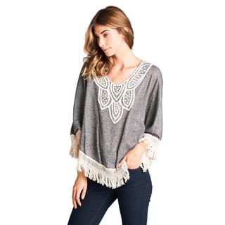 Orange Creek Contrast Tassled Hem Crochet Bodice Knit Top